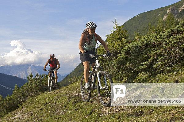 Mountainbike-Fahrerin und -Fahrer oberhalb der Eppzirler Alm  bei Scharnitz  Tirol  Österreich