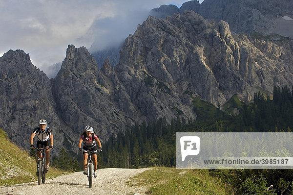 Male and female mountainbike riders west of the Vereiner Alm alpine pasture in the Karwendel Range  Mittenwald  Upper Bavaria  Bavaria  Germany  Europe