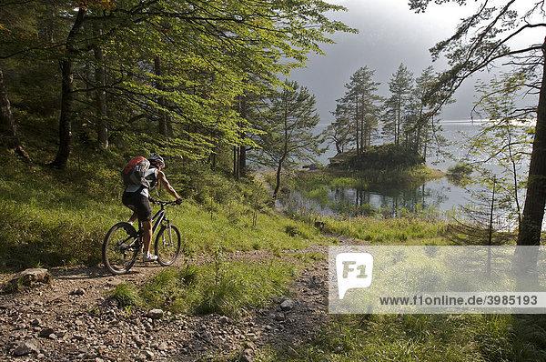 Female mountainbike rider at Eibsee Lake  Grainau  Upper Bavaria  Bavaria  Germany  Europe