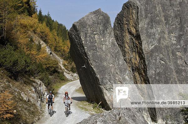 Mountainbike-Fahrer an der Pinnisalm im Pinnistal  Tirol  Österreich