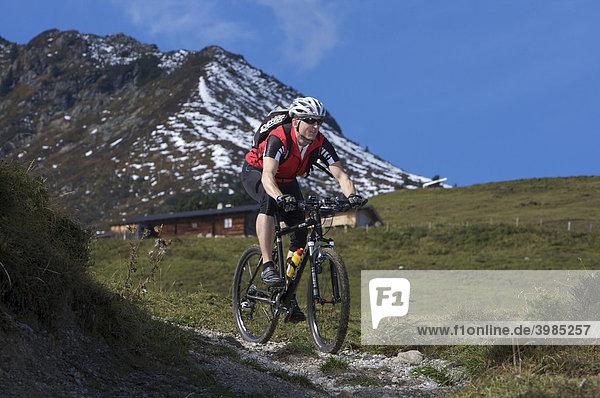 Mountainbike-Fahrer am Gaisberg,  Rettenbach,  Tirol,  Österreich