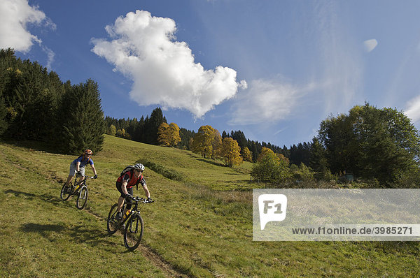 Mountainbikers in Aschau  Tyrol  Austria  Europe