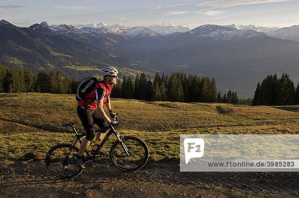 Mountainbike-Fahrer an der Hohen Salve  dahinter Großvenediger  Tirol  Österreich  Europa