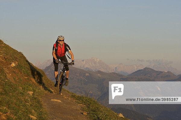Mountainbike-Fahrer an der Hohen Salve,  Tirol,  Österreich,  Europa