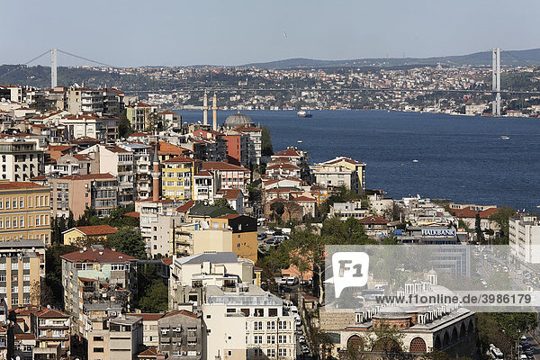 Panoramic views over the rooftops of Galatasaray on the Bosporus Bridge  Tophane  Istanbul  Turkey
