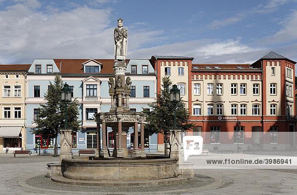 Heinrichsbrunnen und Bürgerhäuser am Markt  Meiningen  Rhön  Thüringen  Deutschland  Europa