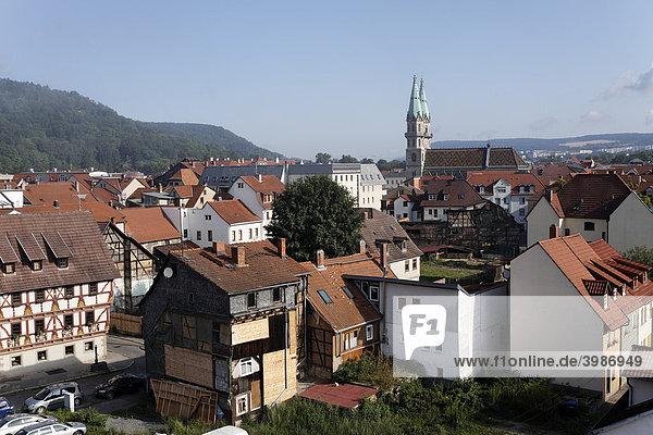 Overlooking the historic town of Meiningen  Rhoen  Thuringia  Germany  Europe