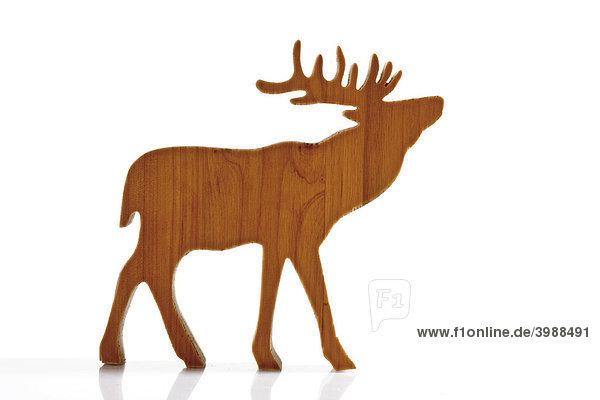 Braunes Rentier  Elch  Dekofigur aus Holz