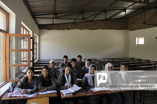 School class in a school in Phiyang  Ladakh  India  Himalayas  Asia