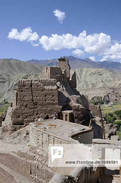 Castle ruins and monastery in the Indus Valley  Basgo  Ladakh  India  Himalayas  Asia