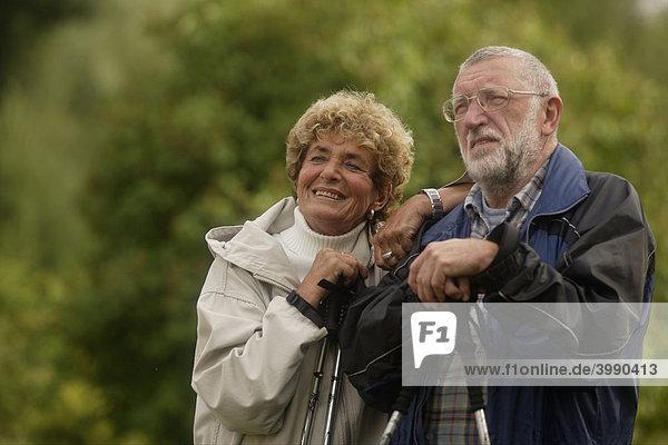 Nordic walking  senior couple