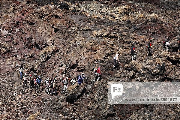 Hikers at the TeneguÌa volcano  La Palma  Canary Islands  Spain  Europe