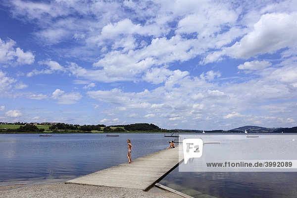 Footbridge at Wallersee Lake in Seekirchen  Flachgau  Salzburger Land  Salzburger Seeland  Land Salzburg  Austria  Europe