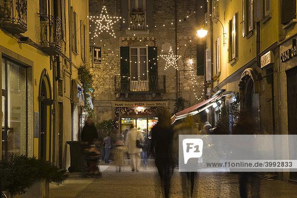 Via Francesco Muratto at night  Como on Lake Como  Lombardy  Italy  Europe