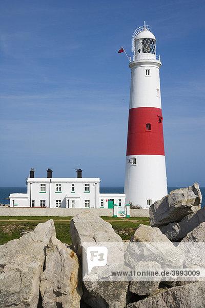 Portland Bill Lighthouse Leuchtturm  Isle of Portland  Dorset  England  Vereinigtes Königreich  Europa