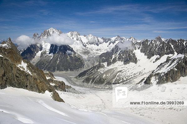 Mer de Glace  VallÈe Blanche  Chamonix  Mont Blanc-Massiv  Alpen  Frankreich  Europa