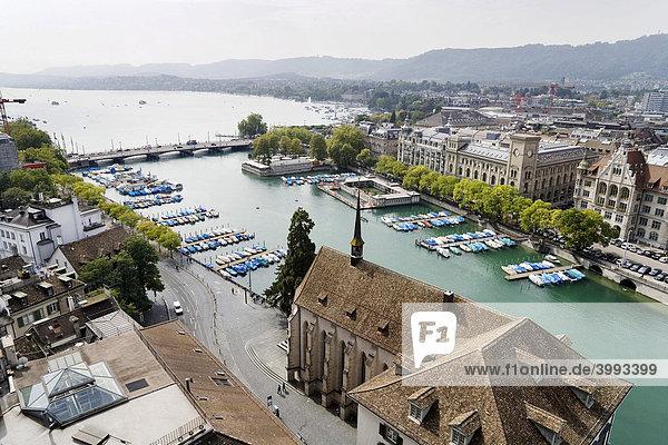 View of the historic centre of Zurich  Wasserkirche Church and Lake Zurich  Switzerland  Europe