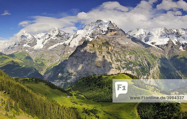 Blick hinab zum Allmendhubel zu den Berner Alpen mit Eiger  Mönch und Jungfrau  Kanton Bern  Schweiz  Europa