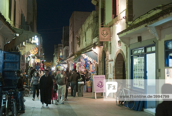 Street scene at night  old town of Essaouira  Morocco  Africa