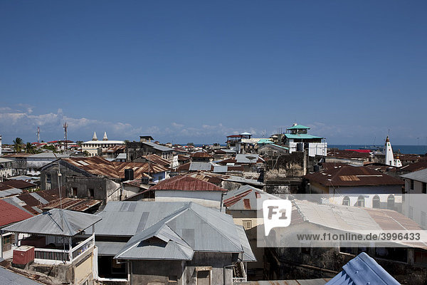 View over the rooftops of Stonetown  Stone Town  Zanzibar  Tanzania  Africa