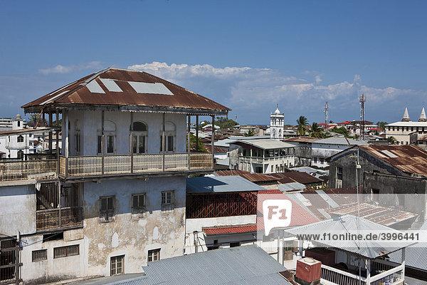 View over the rooftops of Stonetown  Stone Town  Zanzibar  Tanzania  Africa