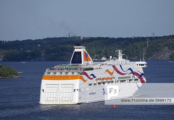 Kreuzfahrtschiff Tallink in den Schären  Stockholm  Schweden  Europa