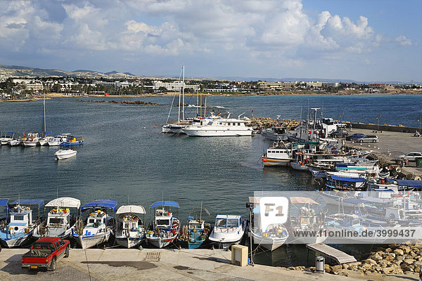 Fishing harbour with fishing boats  coastline  Paphos  Pafos  Cyprus  Europe