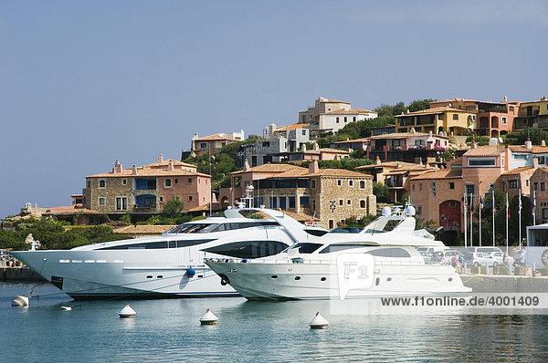 Motor yacht in the harbor  Porto Cervo  Costa Smeralda  Sardinia  Italy  Europe