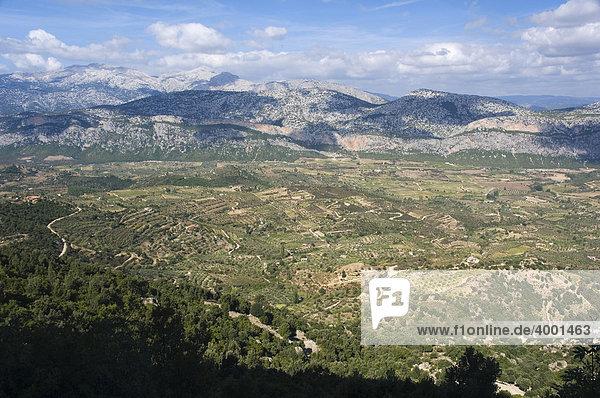 Hochebene und Gebirge von Dorgali  Sardinien  Italien  Europa