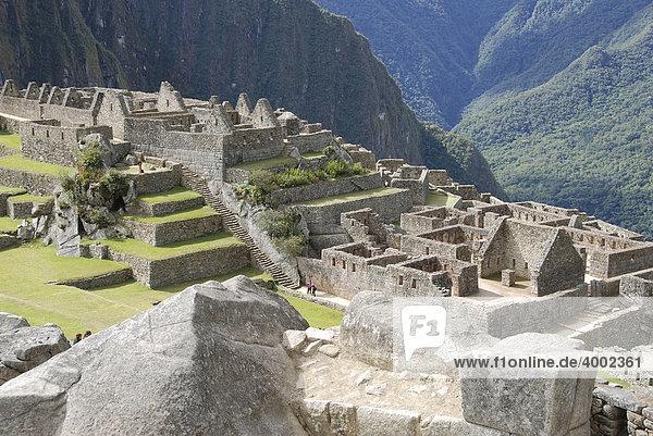 Machu Picchu  Inkasiedlung  Quechuasiedlung  Peru  Südamerika  Lateinamerika