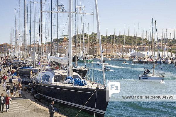 Segelyachten liegen während der Segel-Regatta Les Voiles de Saint-Tropez im Hafen von Saint-Tropez  DÈpartement Var  an der Cote d'Azur  Provence  Südfrankreich  Frankreich