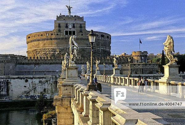 Castel Sant'Angelo  Mausoleum of Hadrian  Ponte Sant'Angelo  Rome  Lazio  Italy  Europe
