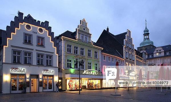 Shops at a market  Recklinghausen  Ruhr area  North Rhine-Westphalia  Germany  Europe