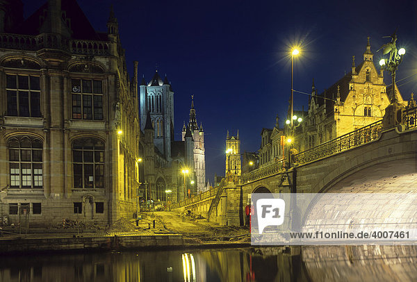 Gent bei Nacht  Ostflandern  Belgien  Europa