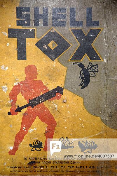 Alte Werbung  martialisch  Schild Shell Tox  Insektizid  Lesbos  Ägäis  Griechenland  Europa Alte Werbung, martialisch, Schild Shell Tox, Insektizid, Lesbos, Ägäis, Griechenland, Europa