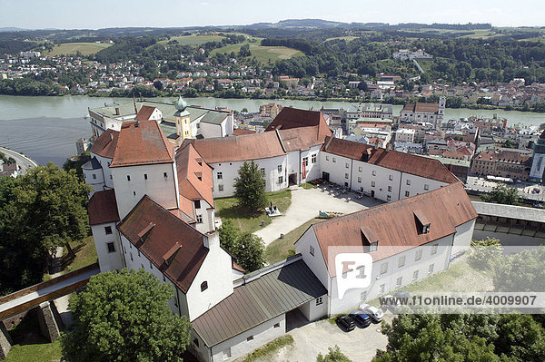 View from the Veste Oberhaus fortress on the confluence of the rivers Danube and Inn  Passau  Bavaria  Germany  Europe.