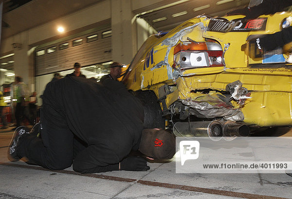 24-hour race at the Nurburgring race track  accident emergency repair with duct tape  Nurburgring  Rhineland-Palatinate  Germany  Europe