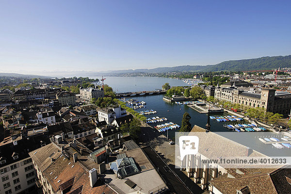 View from one of the towers of Grossmuenster  Great Minster Church  over the Limmat River  Quaibruecke bridge and Lake Zurich  Zurich  Switzerland  Europe