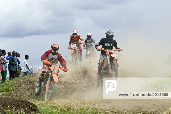 Riders in the 2nd Tanzanian Motocross Championship 2007 in Arusha  Tanzania  Africa