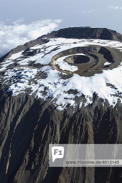 Luftbild Kilimanjaro  5895m  Reusch Krater und Gipfelgrat hinten  Tansania  Afrika