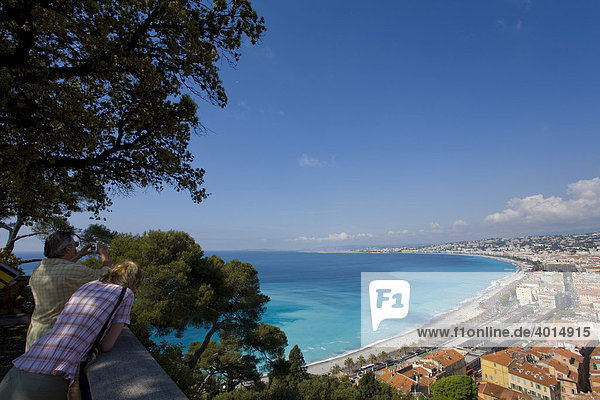 View of Nice from the castle hill  skyline  panorama  sea  Nice  Cote d'Azur  France