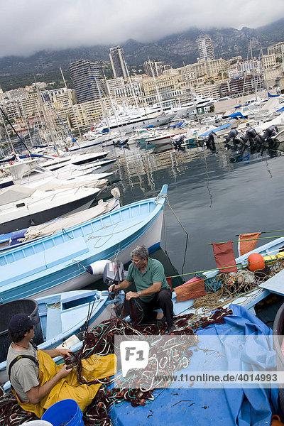 Fishermen in the yacht marina  boats  harbor  Cote d'Azur  France
