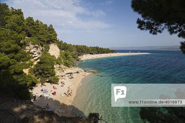 Zlatni Rat Beach  nudist beach  Bol  Brac Island  Dalmatia  Croatia  Adriatic Sea  Mediterranean  Europe