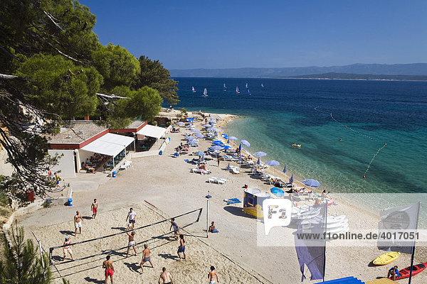 Volleyball on the Beach of Bol  Brac Island  Dalmatia  Croatia  Adriatic Sea  Mediterranean  Europe