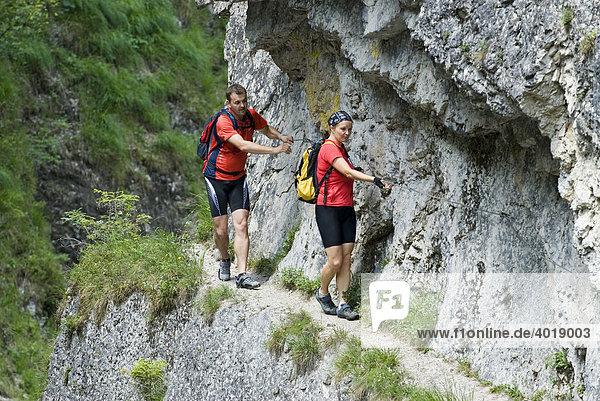 Klettersteig Triftsteig  Nationalpark Kalkalpen  Oberösterreich  Österreich  Europa