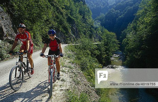 Zwei Mountainbiker auf der Waldbahnstraße im Nationalpark Kalkalpen  Oberösterreich  Österreich  Europa