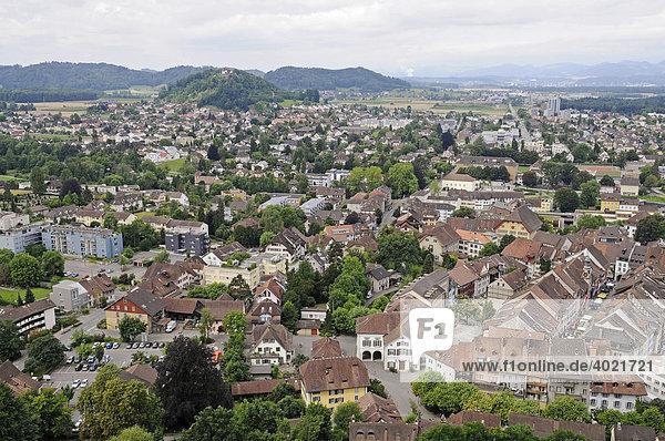 Übersicht  Stadtansicht  Altstadt  Lenzburg  Aargau  Schweiz  Europa