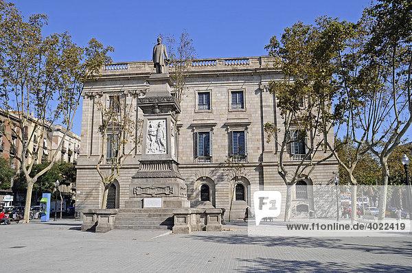 Denkmal  Antoni Lopez  Palacio de la Llotja de Mar  ehemalige Handelsbörse  Barcelona  Katalonien  Spanien  Europa