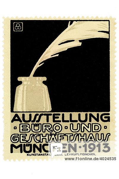 Historische Illustration  Reklamemarke  Ausstellung Büro und Geschäftshaus  München 1913 Historische Illustration, Reklamemarke, Ausstellung Büro und Geschäftshaus, München 1913