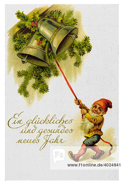 Historische Neujahrsgrußkarte  Zwerg  zwei Glocken  Ein glückliches und gesundes neues Jahr
